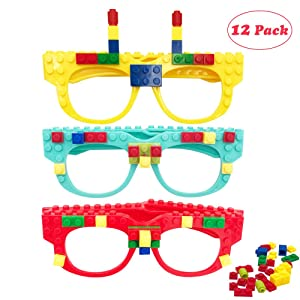 12 Pcs DIY Building Bricks Glasses Building Blocks Games for Kids Creative Building Block Birthday Party Favors, Carnival Party Games Supplies