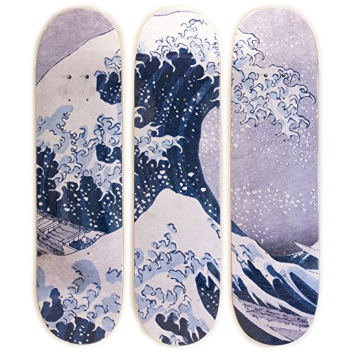 MUSART Limited Edition - Hokusai Skateboard Triptych Decks - Wall Decor - 3 Decks - 8 x 32 Inches Each ()