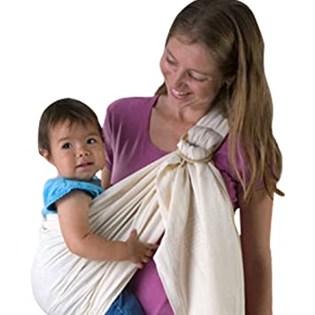 9381e3995ee Amazon.com   Ring Sling Baby Carrier (Beige) 100% Cotton Ideal for  breastfeeding and hands free activities   Baby