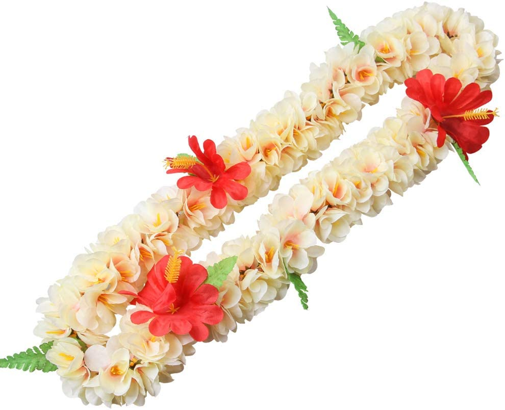 niumanery Child Adult Hawaii Flower Lace Necklace Set Tropical Artificial Hibiscus Flower Wreath Headband Wristband Luau Party Decoration 01# A 4pcs//set
