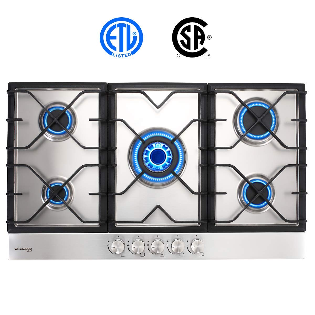 Gas Stove Top with 5 Sealed Burners Easy To Clean ETL Safety Certified Thermocouple Protection Stainless Steel LPG Natural Gas Cooktop Gasland chef GH90SF 36 Built-in Gas Stove Top Gas Cooktop