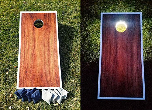 SLR Day & Night Cornhole Board Set - Rich Brown ACA Regulation Size Premium Hardwood Frame W/ Lights Included. Also Comes With 8 Official Size And Weight Corn hole Bags. by SLR Cornhole Co