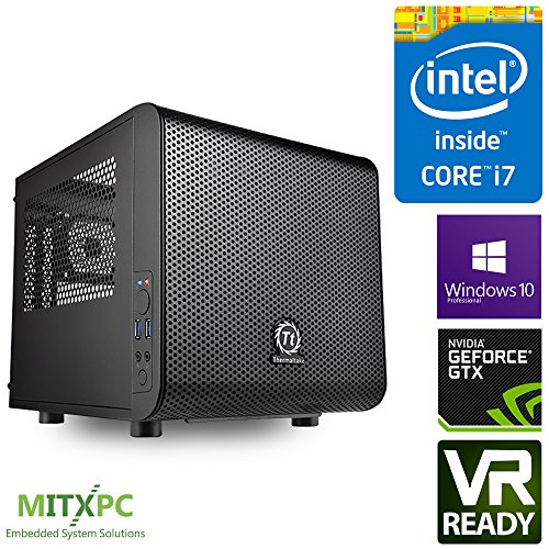 VR Ready Mini Gaming PC w/ Intel i7-7700, 16GB, 256GB NVMe M.2 SSD,2TB HDD, GTX 1080 TI, Win 10 Pro, CV1 – Configured and Assembled by MITXPC