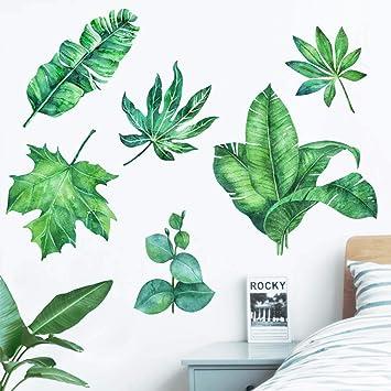 HLB Wandtattoo, Motiv: Nordische Grüne Pflanzen, Für Kinderzimmer, Deko,  Blätter,