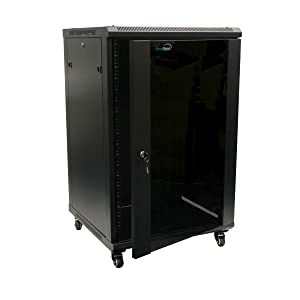 NavePoint 18U Wall Mount Server Data Cabinet 24-inch Depth Glass Door Lock and Key w/Casters