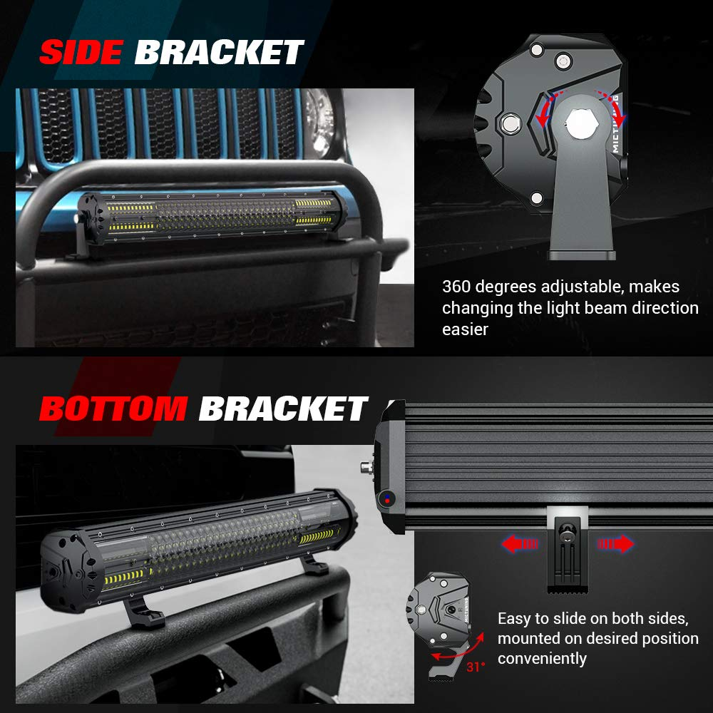 MICTUNING Magical M2 21 Inch Aerodynamic LED Light Bar 180w Quad Row Off Road Lights 12680lm with 2 Style Adjustable Mounting Brackets and Wiring Harness