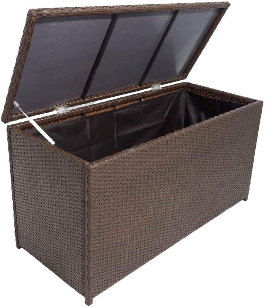 VidaXL Garden Storage Box Bench, Synthetic Rattan