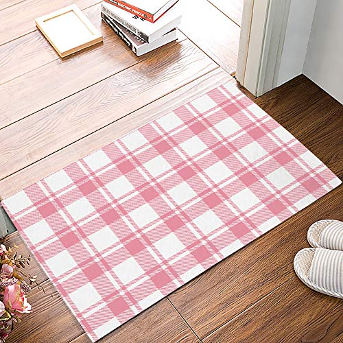 MuswannaA Decor Door Mat Geometric Non-Slip Easy Clean Entrance Doormat Classic Buffalo Check Plaid Pink White Rug for Indoor/Outdoor Entry Way - 20 x 32 Inches ()