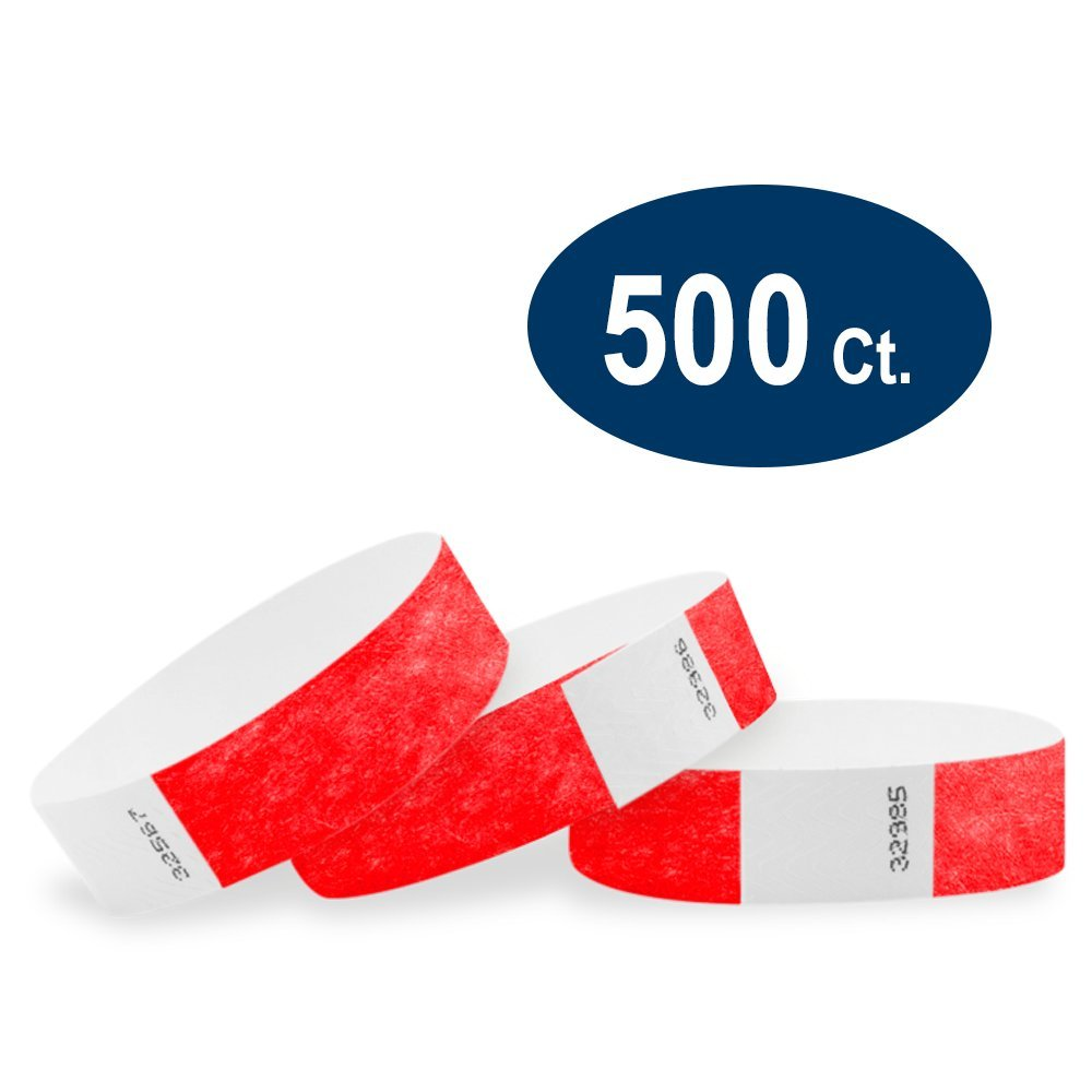 WristCo Neon Red 3/4 Tyvek Wristbands - 500 Pack Paper Wristbands For Events