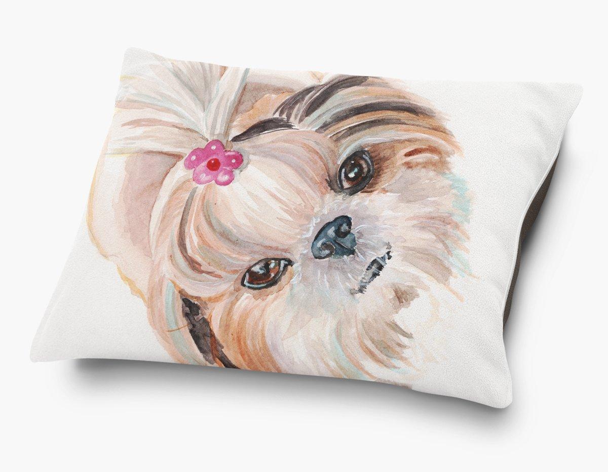 Redstreake Creative Living, Shih Tzu dog Pet Bed, Coral Fleece Top with Cotton Duck Bottom (dark brown), Zipper with INSERT (30 x 40'')