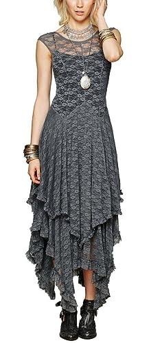 R.Vivimos® Women Lace Asymmetrical Long Dresses + Lining 2 Piece