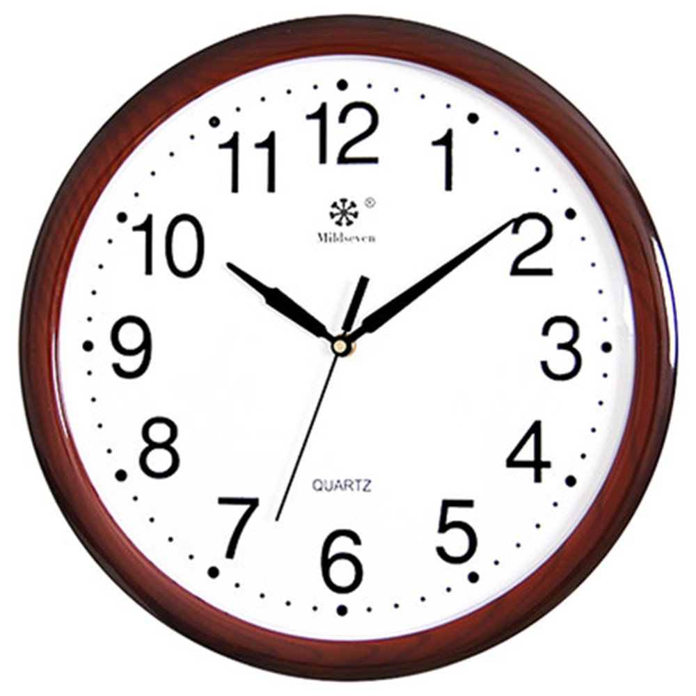 CLOCKZHJI Wall Clock, Silent Non Ticking Quality Quartz Battery Operated 15 Inch /38 cm Round Easy to Read Home/Office/School Clock (Color : Brown) by CLOCKZHJI