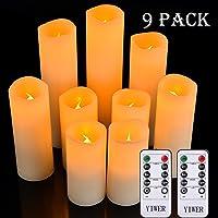 """YIWER LED Velas sin Llama 4""""5"""" 6""""7"""" 8""""9"""" Juego de 9 Pilas de Cera Real no de plástico 10 Teclas con 2/4/6/8 Horas Función del Temporizador 300+ Horas (9x1, Marfil) [Clase de eficiencia energética A]"""