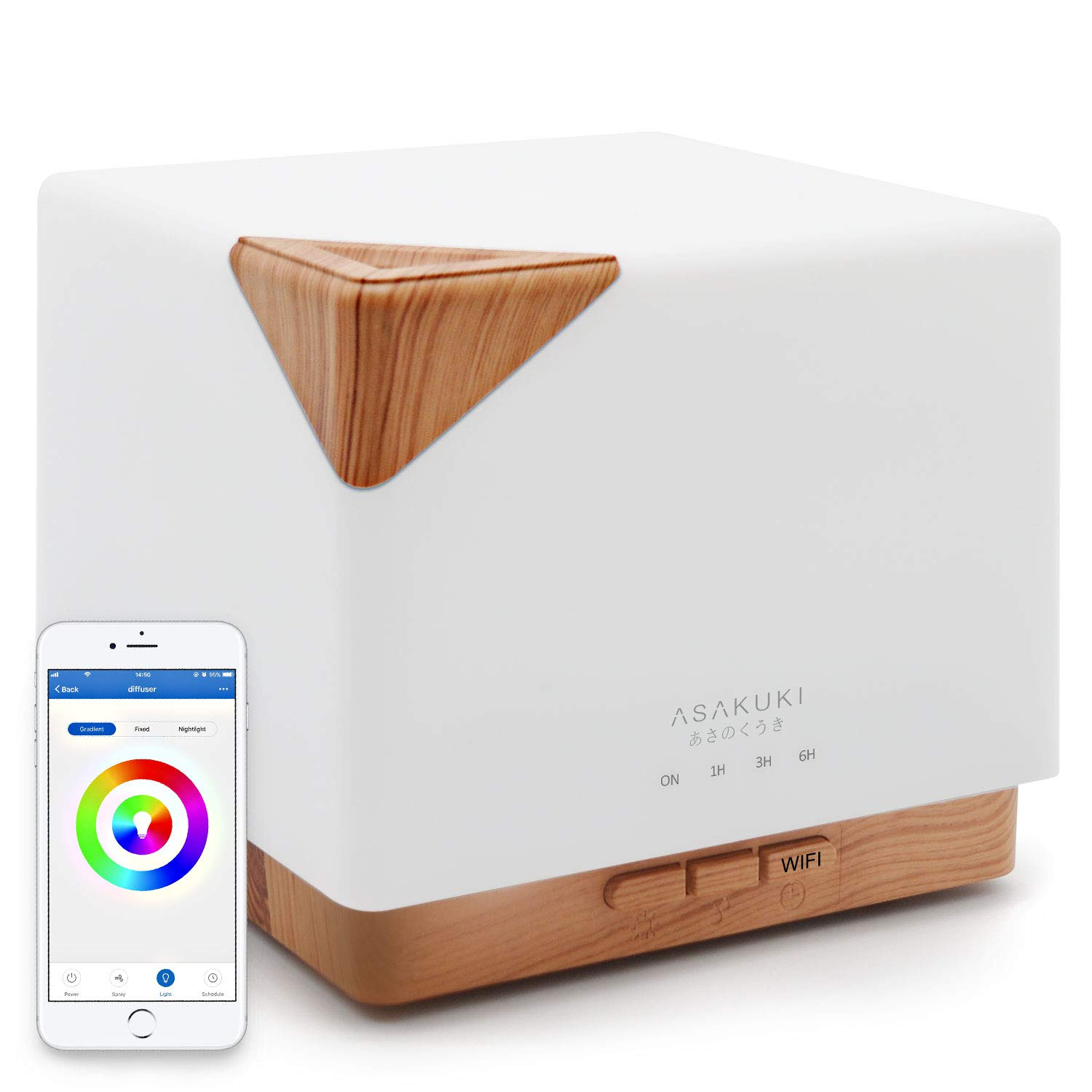 ASAKUKI Smart Wi-Fi Essential Oil Diffuser- App Control Compatible with Alexa, 700ml Aroma Humidifier for Relaxing Atmosphere in Bedroom and Office-Better Sleeping&Breathing ...