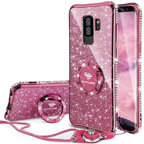 18 opinioni per Glitter Cover Samsung Galaxy S9 Plus con Strass Anello,Ultra Slim Soft TPU