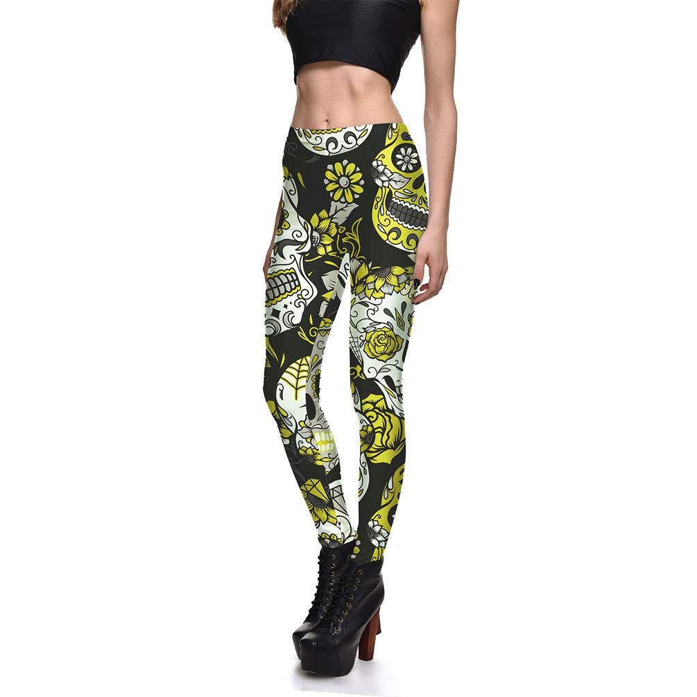 Mengyu Donna Pantaloni Sportivi Skull Stampato Alta Vita Fitness Corsa Palestra Yoga Leggings Opzionale