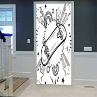 AGKMLP 3D Deur Sticker Skateboard Vinyl Deurstickers Villa Manor Huis Woonkamer Muurschildering Zelfklevende Muur Art…
