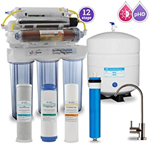 Max Water 12 Stage Home Reverse Osmosis System RO System Under Sink RO Water Purifier 50 GPD RODI System, UV Filter PH 5-1 Alkaline Water Filter (12S Modern Faucet)