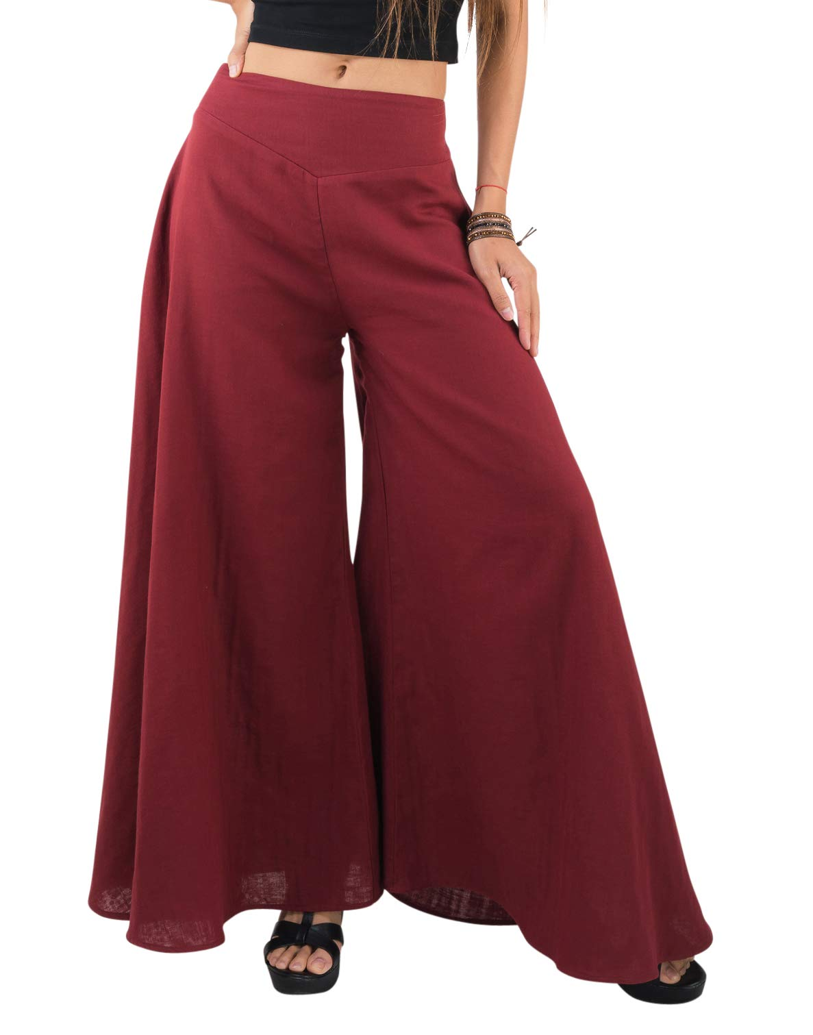 Tropic Bliss Women's Wide Leg Organic Cotton Palazzo Pants in Red, S