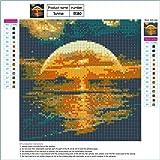 5D DIY Diamond Painting by Number Kits, Sunset Over The Sea Paint-by-Diamond Kits Arts Craft Rhinestone Cross Stitch (A)