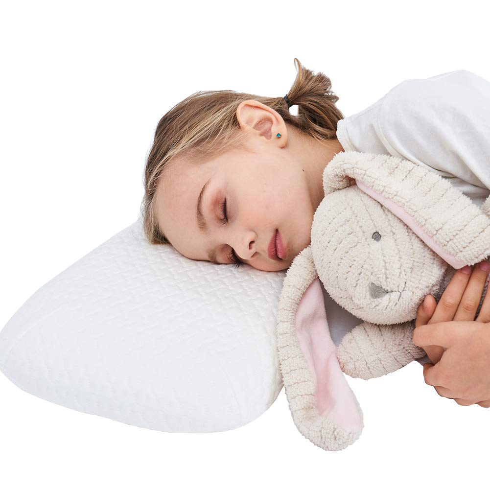 JSHANG Toddler Pillow, Memory Foam Baby Pillows for Sleeping Home House Breathable Hypoallergenic Kids Pillow with Removable Cover Provides Great Back & Neck Support- 21 X 14,3-8 Age