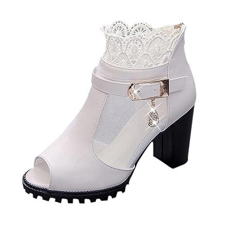 ce79e57aa468c Amazon.com : Ecurson Women Fashion Summer Chunky Heel Lace Trim ...