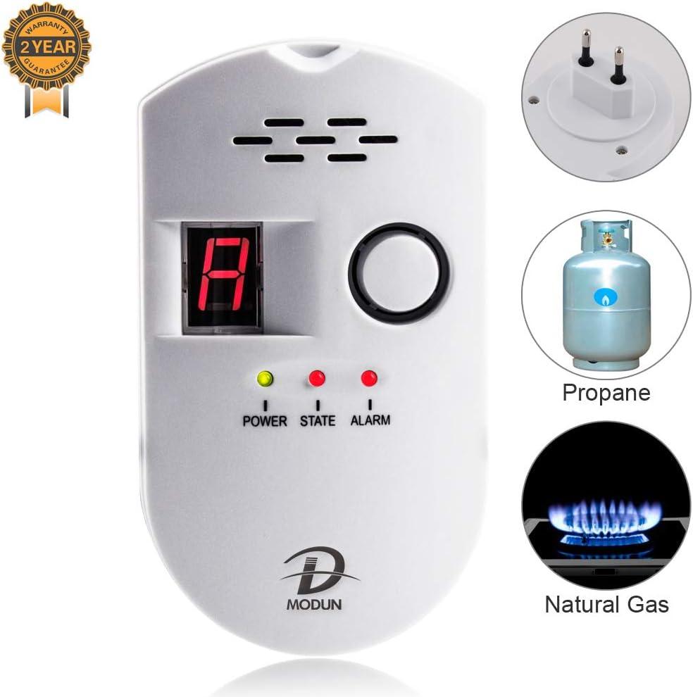 Detector de Gas, LPG/Gas Natural/Detector de fugas de gas de carbón, Sensor Enchufable Monitor de gas con Alarma Sonora y Pantalla Digital LED, Alarma de gas combustible Metano Propano Butano Inicio