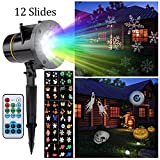 Projector Light, Peralng® LED Spotlights Landscape Rotating Light Decorative Colorized Auto Moving Lamp With 12 Replaceable Lens (with Remote Control)