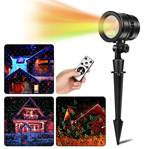 Christmas Laser Lights Wireless Remote Outdoor Projector Lights, 5 Patterns Red & Green Laser Light Show Xmas Landscape Spotlight with IP65 Waterproof