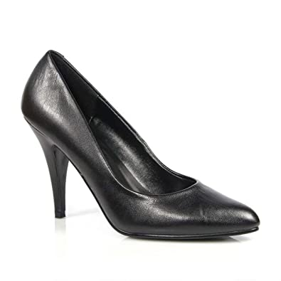 c2d914a440f2 4 Inch Womens Sexy Shoes Wear to Work Shoes Classic Pump Shoes Black  Leather Size