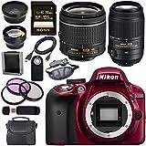 Nikon D3300 DSLR Camera with AF-P 18-55mm VR Lens (Red) + Nikon 55-300mm f/4.5-5.6G ED VR Lens + Sony 128GB SDXC Card + Carrying Case Bundle