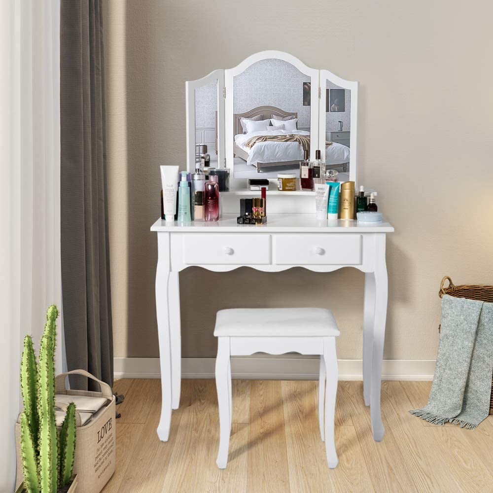 Kinbor Vanity Set Dressing Table with 4 Drawers & Tri-Folding Necklace Hooked Mirror, Makeup Dressing Table with Cushioned Stool, White