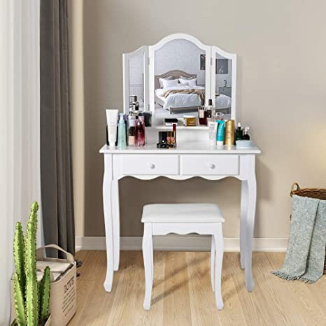 timeless design dd809 6f7f7 Kinbor Vanity Set Dressing Table with 4 Drawers & Tri-Folding Necklace  Hooked Mirror, Makeup Dressing Table with Cushioned Stool, White