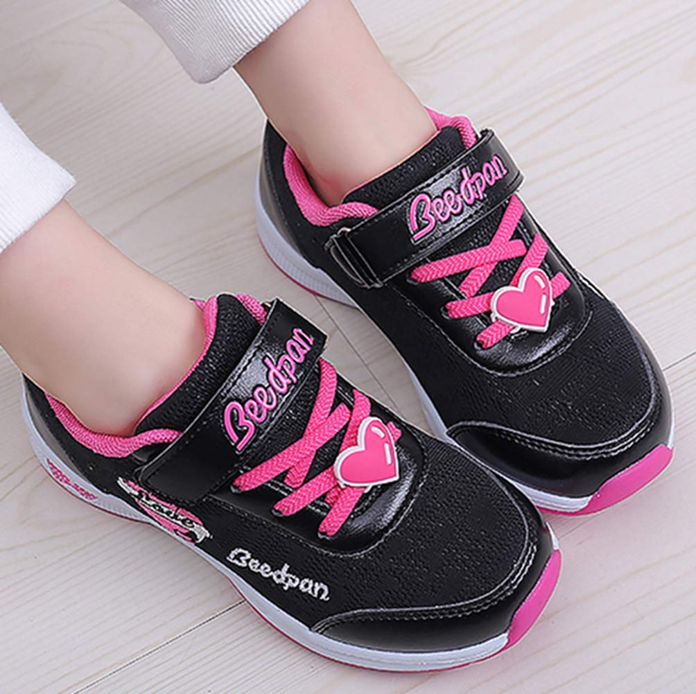 LGXH Girls Breathable Outdoor Walking Tennis Running Shoes Cozy Kids Love Slip-On Athletic Sneakers