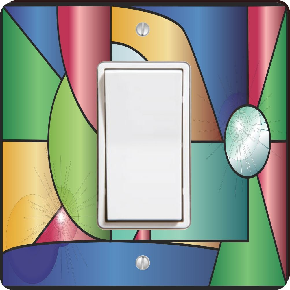 Rikki Knight 45076 Single Rocker Stained Glass Window with Reflections Design Light Switch Plate