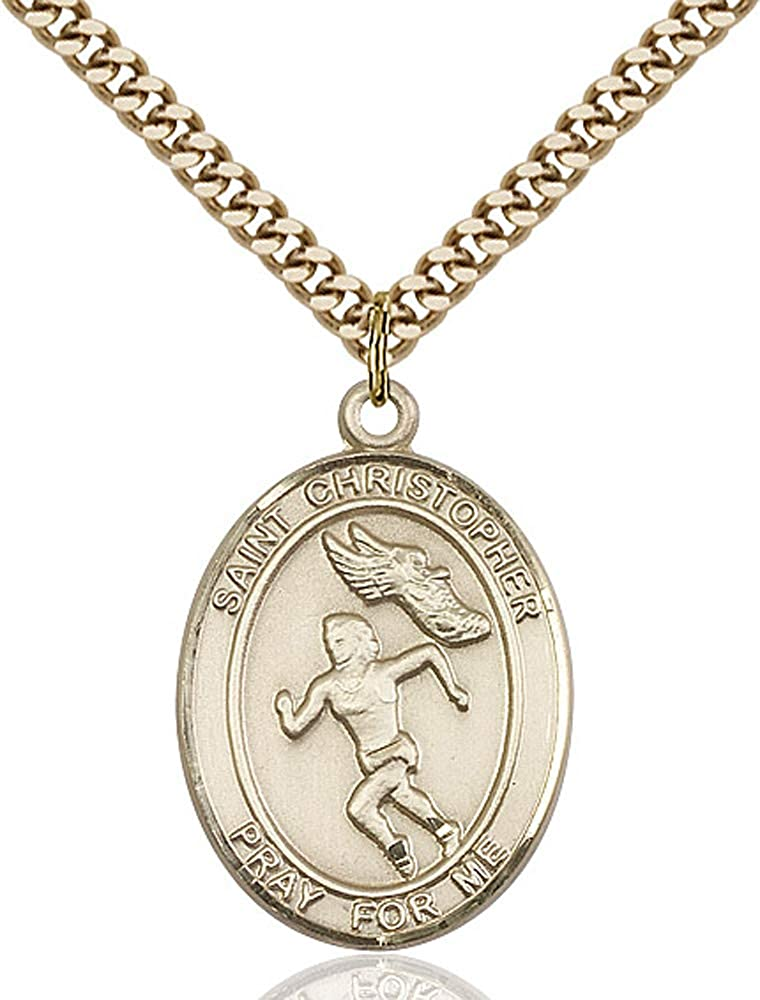 14kt Gold Filled St Christopher//Track/&Field Pendant Gold Plate Heavy Curb Chain Patron Saint Travelers//Motorists 1 x 3//4