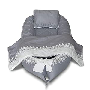 Mamibaby Baby Lounger, Baby Nest Lace Portable Super Soft 100% Cotton and Breathable Newborn Lounger 4 Pcs Set/Grey - Perfect for Co-Sleeping