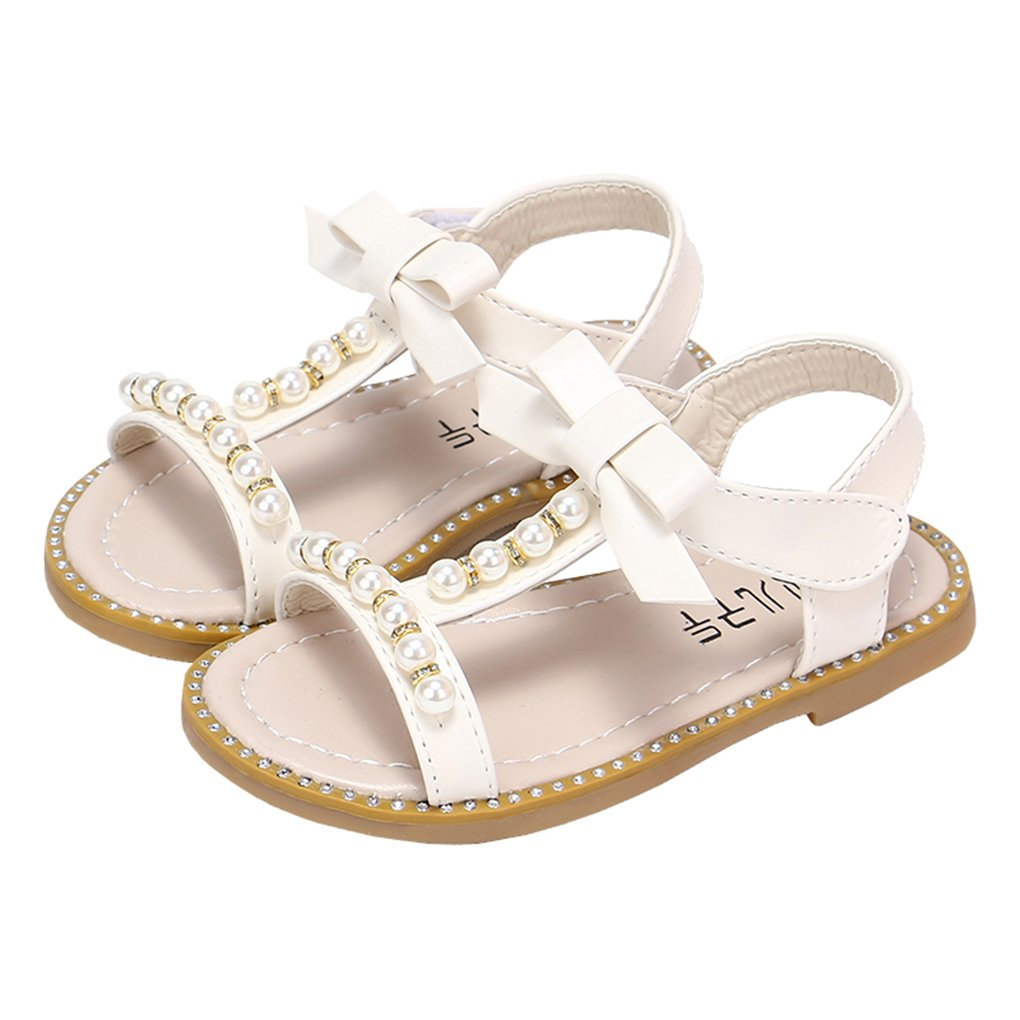 lakiolins Toddler Girl Pearls T-Strap Open Toe Beach Flat Sandals Dress Shoes with Bowknot White Size 21