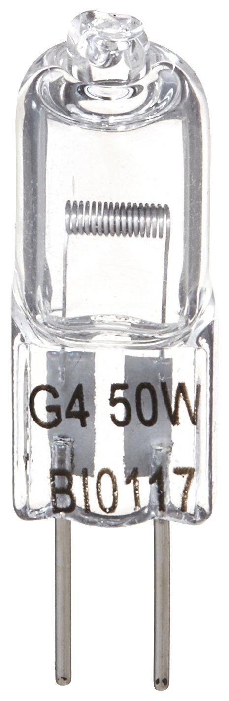 Brite Innovations G4 Halogen Bulb 50 Watt 4 Pack Dimmable Soft White 2700K 12V Bi Pin T3 JC Type Clear Light Bulb