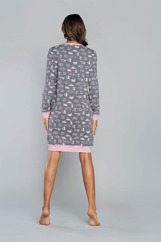 Italian Fashion Camicia da Notte Donna Cotone Fiona Gatti