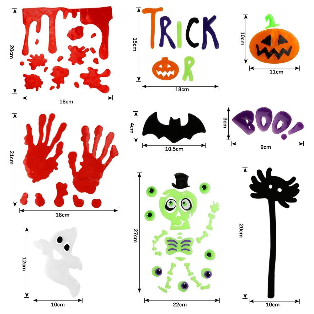 K KUMEED Dautocollants dhalloween pour Fen/être 6 Feuilles Gel Clings D/écoration de Verre pour Halloween avec Citrouille Chauve-Souris et Fant/ôme Stickers de D/écoration pour Halloween