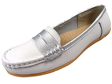 d9bc3c8dfc9 Ladies Leather Loafer Work Flat Comfort Casual Shoes Womens White Navy  Silver (3 UK
