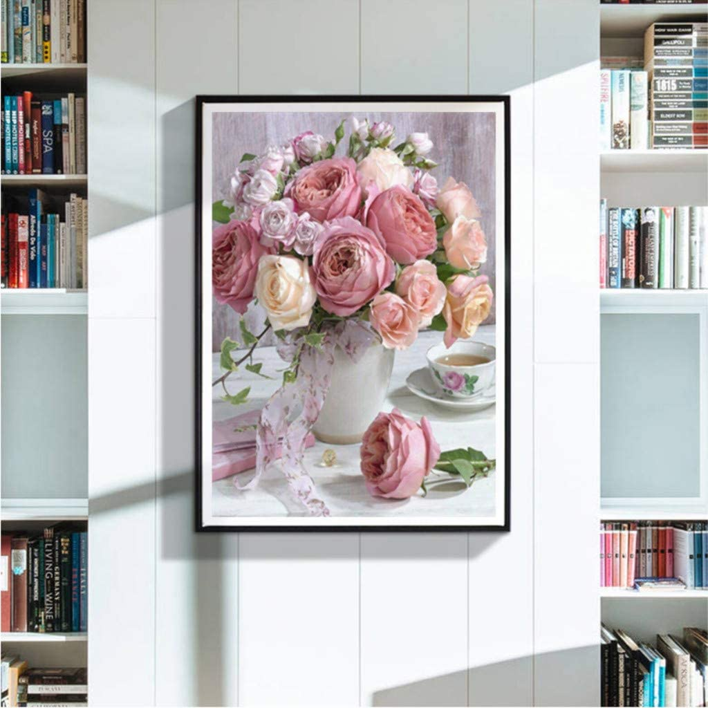 Rose Blumen Schmetterling Charakter Landschaft Muster Stickerei Kits Stickereien DIY Kreuzstich 5D Diamantmalerei Kreatives Geschenk sunnymi 5D DIY Diamond Painting A, 30x30cm
