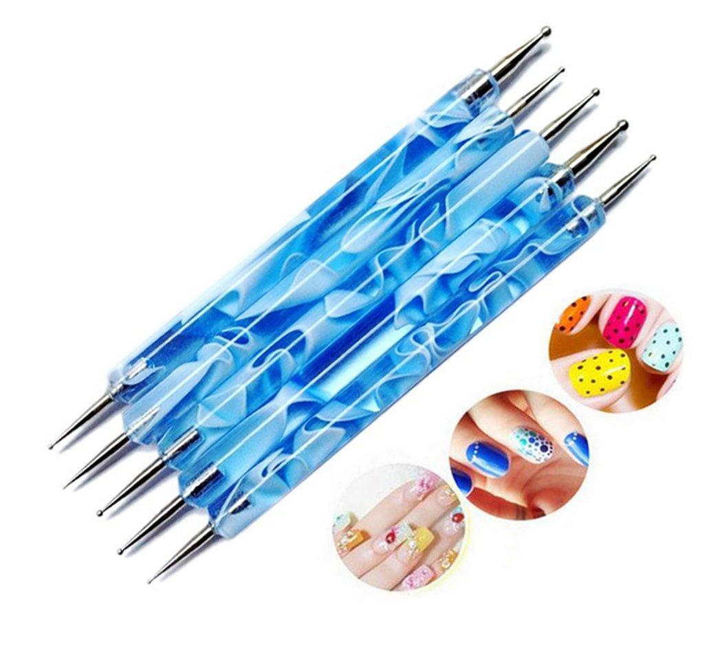 Hillento 10 pc 2 Way Dotting Pen Tool Nail Art Tip Dot Paint Manicure kit, Blue and Purple Ds Online