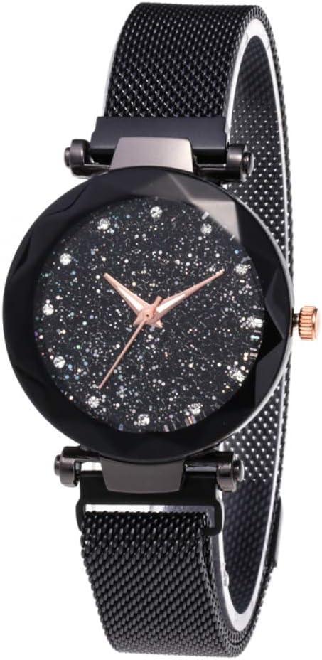 BEAYPINE Correa de Metal Cristal Azul Luz de Las Estrellas Cara del dial Mujer Moda Relojes de Pulsera Reloj de Cuarzo Mujeres Impermeable Reloj de Dama
