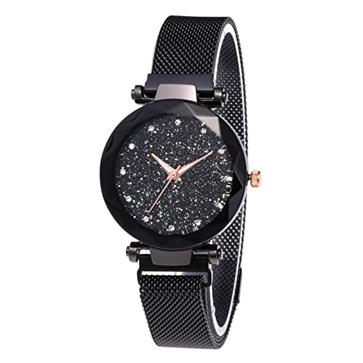 0dfeae34a Image Unavailable. Image not available for. Color: Starry Sky Rhinestone  Analogue Quartz Watches with Magnetic Band Diamond Cutting Sandstone Dial  Lady ...