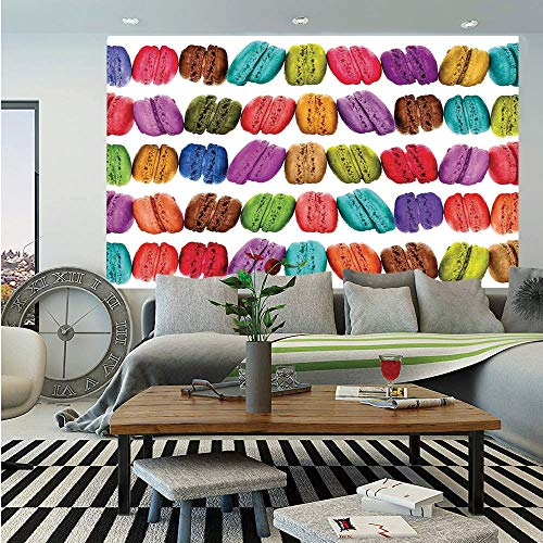 SoSung Colorful Home Decor Wall Mural,French Macarons in a Row Coffee Shop Cookies Flavours Pastry Bakery Design,Self-Adhesive Large Wallpaper for Home Decor 55x78 inches,Multi