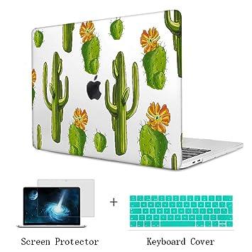 TwoL Carcasa MacBook Air 13 Pulgadas, Diseño de Cactus Funda Dura Carcasa con Cubierta de Teclado y Protector de Pantalla para MacBook Air 13-13,3 ...