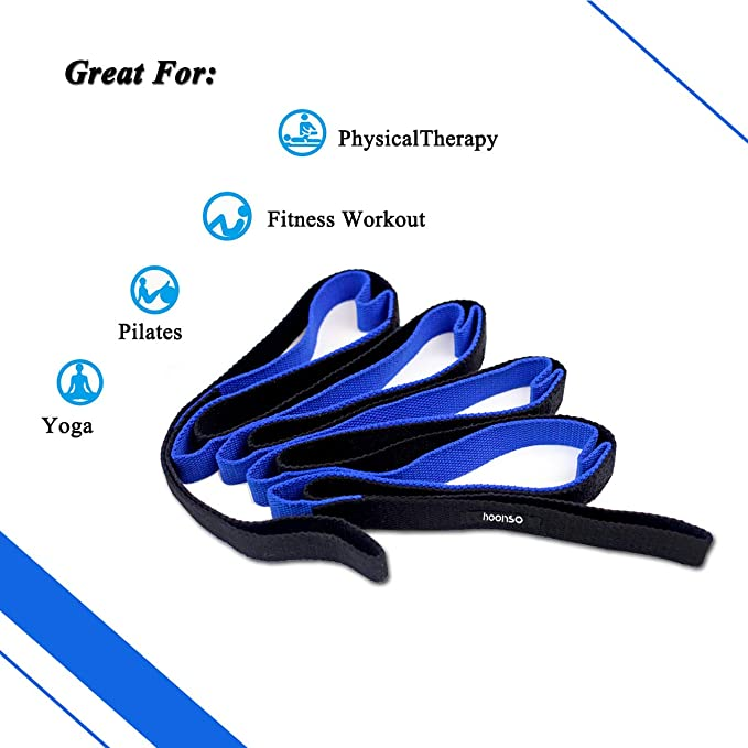 HOONSO Stretch Out Strap Therapy Straps with Loops Exercise Bands Stretching Strap for Physical Therapy Yoga Strap Athletic Band