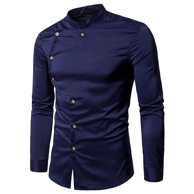 Camisa de Hombre de Moda Camisa de Manga Larga Ocasional Blusa Sólido Superior: Amazon.es: Ropa y accesorios